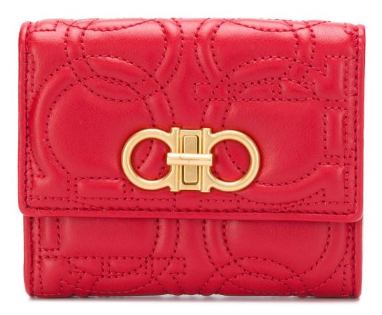 farfetch Gancini quilted compact wallet